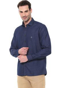 Camisa Jeans Dudalina Slim Básica Azul