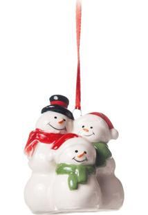 Enfeite De Cerâmica Decoração Natal Pendurar 6Cm Branco