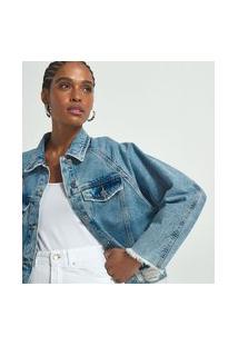 Jaqueta Jeans Lisa Com Rasgos E Franjinhas | Blue Steel | Azul | Pp