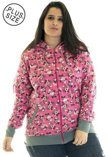 Jaqueta Konciny Moletom Estampado Plus Size 85216 Rosa