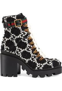 Gucci Ankle Boot Gg De Tweed - Preto
