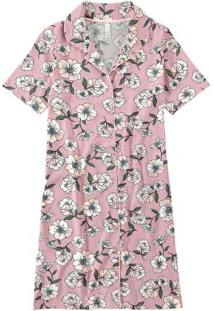 Camisola Rosa Claro Floral Manga Curta