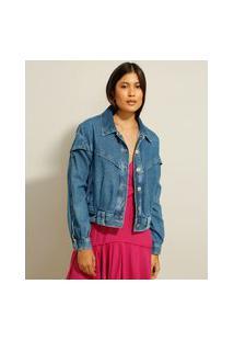 Jaqueta Oversized Jeans Com Recorte Azul Médio