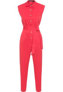 Macacão Feminino Camisa S - Vermelho