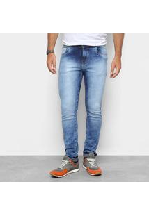 Calça Jeans Skinny Coffee Marmorizada Cintura Média Masculina - Masculino-Azul Claro