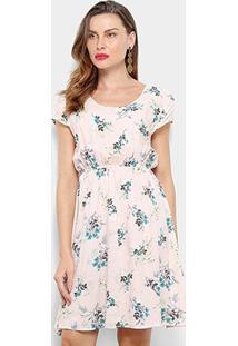 Vestido Pérola Floral Evasê - Feminino-Rosa