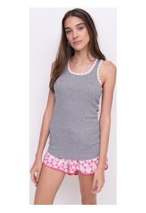Blusa Pijama Em Ribana Com Detalhe Em Renda