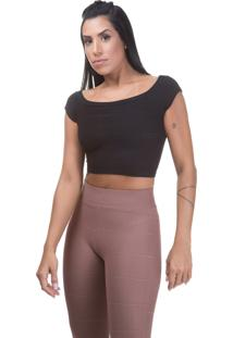 Blusa Cropped Balada Miss Blessed Marrom