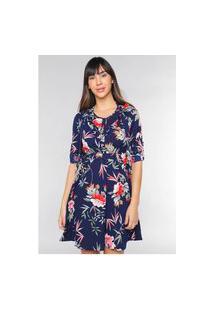 Vestido Crepe Estampado Floral Rodado Under79 Azul Marinho
