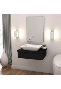 Conjunto Bancada Para Banheiro Com Cuba Aria Rt41 E Espelheira 601W Metrópole Compace Preto Onix