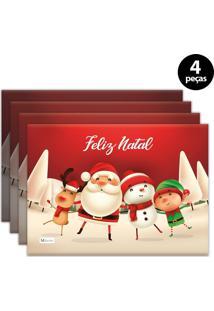 Jogo Americano Mdecore Natal Feliz Natal 40X28 Cm Vermelho 4Pçs
