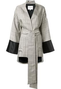 Layeur Kimono Com Amarração Na Cintura - Cinza