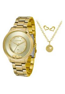 Kit De Relógio Analógico Lince Feminino + Brinco + Colar - Lrg4605L Kw11C1Kx Dourado