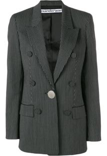 Alexander Wang Striped Double-Breasted Blazer - Preto
