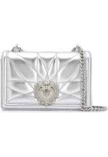 Dolce & Gabbana Bolsa Transversal Devotion Mini - Prateado