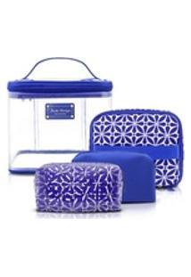 Kit Necessaire 4 Em 1 Geométricaétnica Poliéster E Pvc Azul - Jacki Design