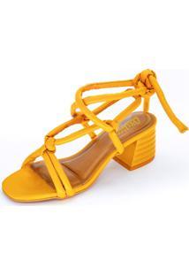 Sandália Vértice Amarração Salto Grosso Tiras Soft Amarelo