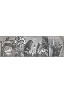 Papel De Parede Elementos De Nova York Branco E Preto Allegra Vinílico 17Cm X 5M Muresco