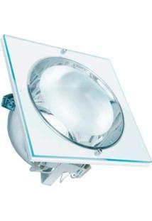 Plafon De Embutir Quadrado Com Vidro 24Cm Lamp. E-27 Bivolt