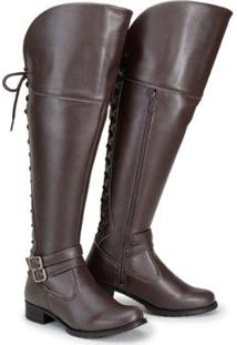 Bota Over The Knee Cano Alto Feminina - Feminino-Café