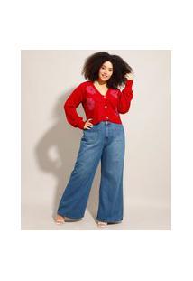 Calça Pantalona Jeans Plus Size Cintura Super Alta Com Bolso Azul Escuro