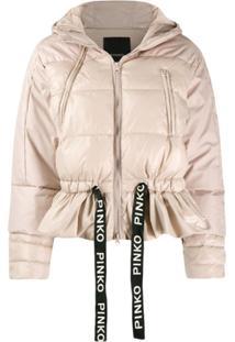 Pinko Drawstring Puffer Jacket - Neutro
