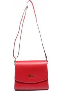 Bolsa De Couro Recuo Fashion Bag Transversal Cereja