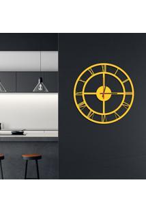 Relógio De Parede Decorativo Premium Números Romanos Vazado Amarelo Médio
