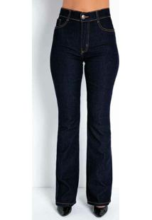 Calça Jeans Escura Flare Com Bolsos Sawary