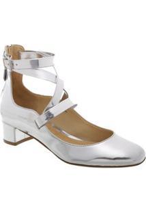 Schutz Sapato Tradicional Metalizado Prateado