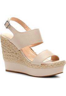 Sandália Plataforma Couro Shoestock Corda Feminina - Feminino-Off White