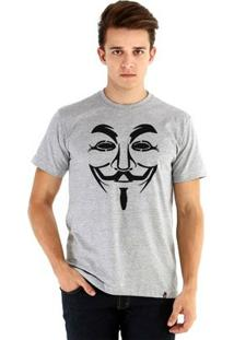 Camiseta Ouroboros Manga Curta Anonymous Masculina - Masculino-Cinza