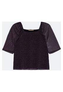 Blusa De Tule Estampa Poá Decote Quadrado Curve E Plus Size Preto