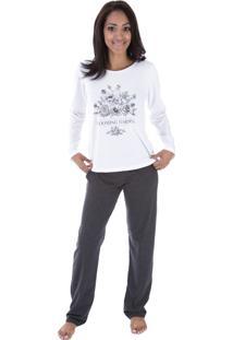 Pijama Longo Inspirate Garden Branco