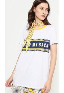"Camiseta ""Get Off My Back"" Com Faixa - Branca & Azul Marmy Favorite Things"