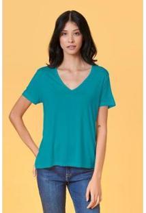 T-Shirt Tvz Básica Gola V Feminina - Feminino-Azul