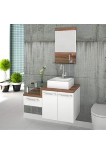 Gabinete Para Banheiro 2 Portas 1 Gaveta Com Cuba E Espelheira Legno 831W Siena Móveis Branco/Nogal