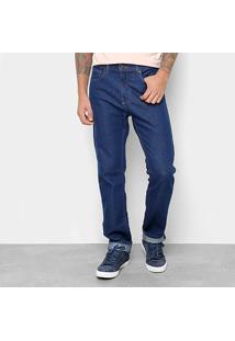 Calça Jeans Reta Calvin Klein Lavagem Clássica Cintura Alta Five Pock Slim Straight Masculina - Masculino