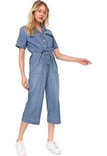 Macacão Jeans Gap Pantacourt Utilitário Azul