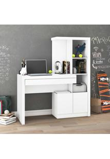 Mesa Para Computador 2 Portas 1 Gaveta 2 Prateleiras Me4143 Branco - Tecno Mobili