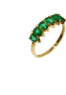 Anel Cristais Mini Gotas Esmeraldas Prata Banhado A Ouro 18K