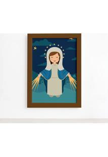 Quadro Nossa Senhora Das Graã§As Moldura Marrom 22X32Cm - Multicolorido - Dafiti