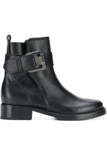 Lanvin Ankle Boot De Couro Com Fivela - Preto