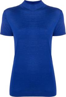 N.Peal Blusa De Tricô Com Gola Alta Ampla - Azul