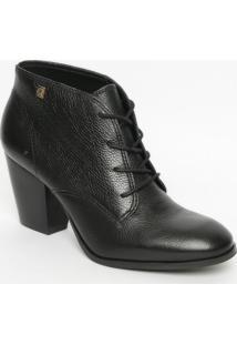 Ankle Boot Em Couro Com Amarraã§Ã£O- Preta- Salto: 7,5Loucos E Santos