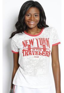 ... Camiseta Em Devorê   New York  - Branca ... d7993632243