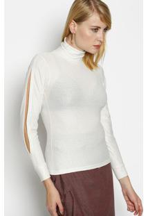 Blusa Com Fios Metalizados- Off White & Prateada- Blbless