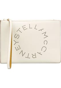 Stella Mccartney Clutch 'Stella' Com Logo - Neutro