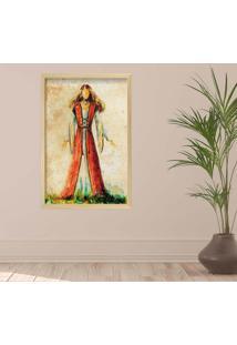 Quadro Love Decor Com Moldura Ilustração Jesus Madeira Clara Médio