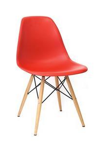 Cadeira Eiffel Charles Eames Vermelho F01 Com Base De Madeira - Mpozen